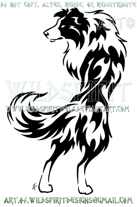 tribal dog tattoo alert border collie tribal design by wildspiritwolf on