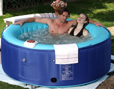 bathtub jacuzzi portable 4 person new family aqua spa portable bubble jet blue