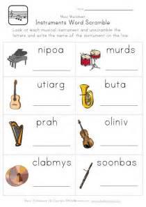 instruments word scramble worksheet classroom
