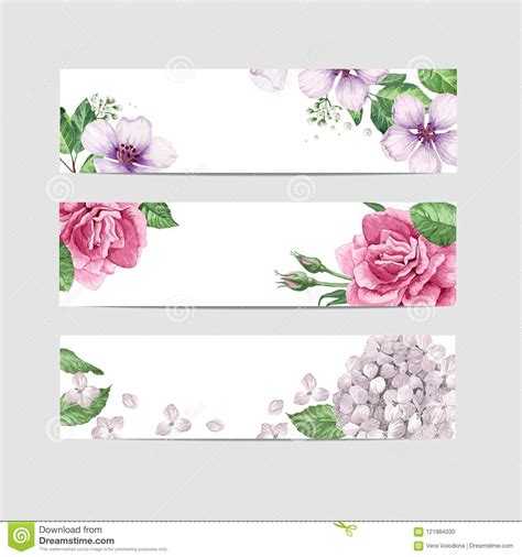 Floral Banner Template Flowers In Watercolor Style Isolated On White Background Stock Vector Flower Banner Template