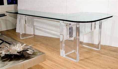 custom made quot l quot shaped lucite and glass desk by karl