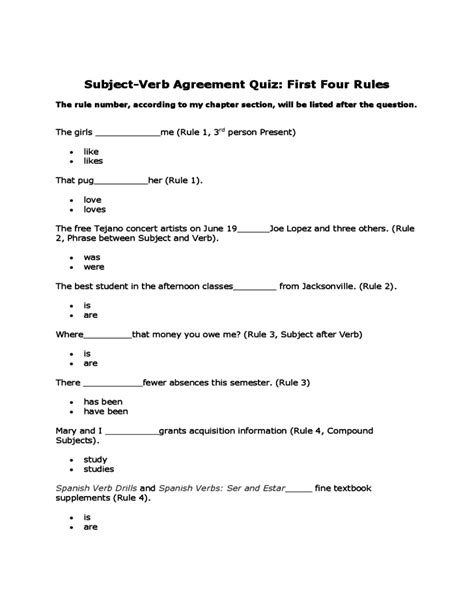printable quiz on subject verb agreement subject verb agreement worksheets for class 5 subject