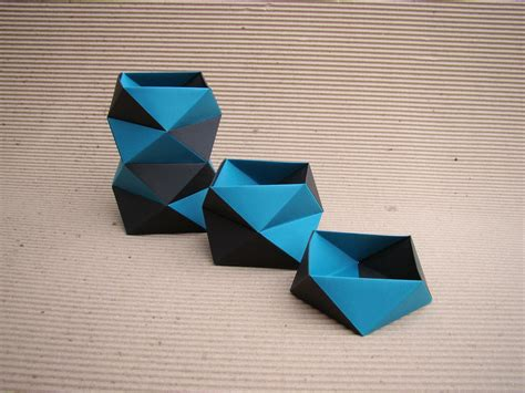 Office Origami - kit office origami papel azul preto meemo elo7