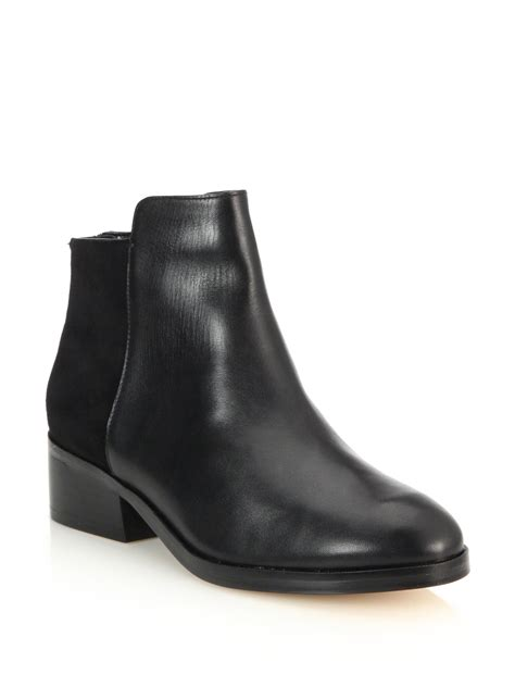 cole haan elion leather suede ankle boots in black lyst