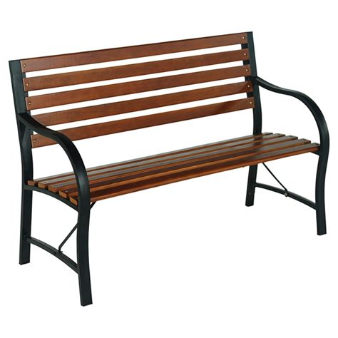 black outdoor bench outdoor park bench brown black rona