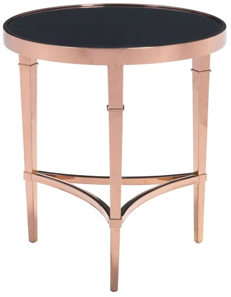 rose gold side table elite rose gold black side table from zuo mod 100346