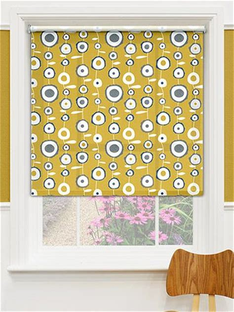 mustard patterned roller blinds ocular bumblebee gold roller blind midnight blue over