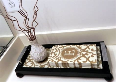 Decoupage Bathroom - interchangeable guest towel picture frame tray hometalk