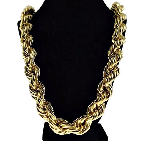 Bangs Chain Locket Necklace by Chunky 20mm 14k Gold Plated Hollow Thick Rope 30 Quot Necklace