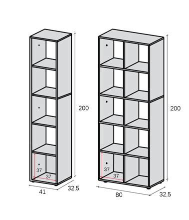 dimensioni librerie libreria sistema modulo 41 80