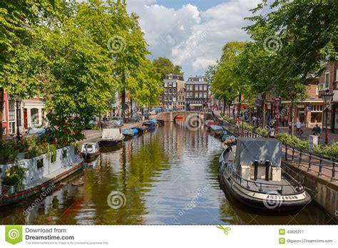 European Style Houses city view of amsterdam canal holland netherlands