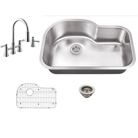 undermount kitchen sink with faucet holes schon sc1367065ss all in one undermount stainless steel 29 1 2 in 0 single bowl kitchen