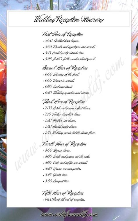reception program templates wedding reception itinerary great idea takes the
