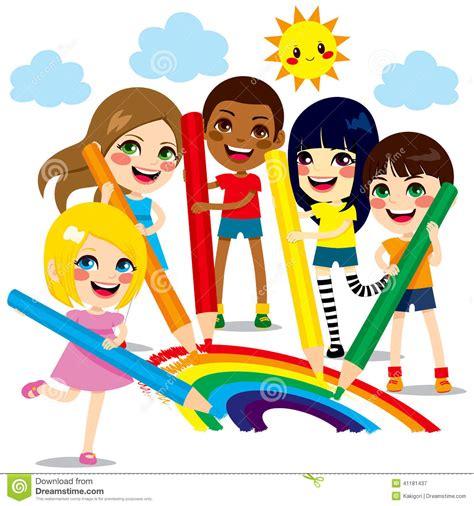 clipart bimbi bambini che estraggono arcobaleno illustrazione vettoriale
