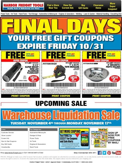 Buy Harbor Freight Gift Cards - harbor freight only one day left your free gift coupons expire friday 10 31 milled