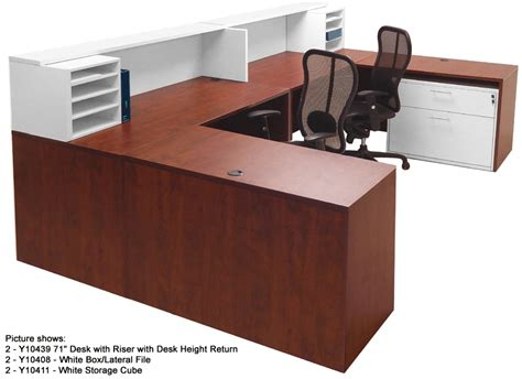 white 2 tone reception desks in stock free shipping