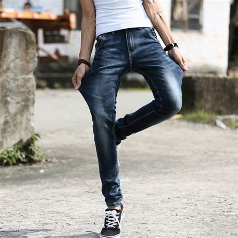 jeans style 2015 men new 2015 fashion elastic ripped jeans for men casual slim