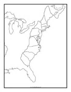 blank us map 13 colonies blackline map of thirteen colonies