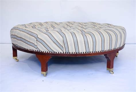 large tufted ottoman large round tufted ottoman with striped upholstery at 1stdibs