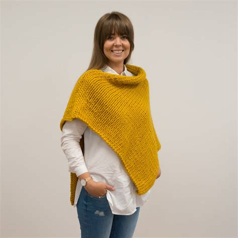knitting a poncho for beginners diy knitting kit poncho wrap beginners shawl scarf cape by