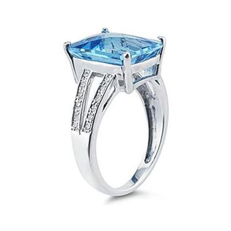 7 carat emerald cut blue topaz and ring 10k white
