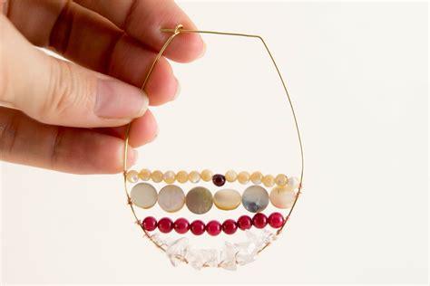 diy beaded hoop earrings diy wire wrapped beaded hoop earrings likely by sea
