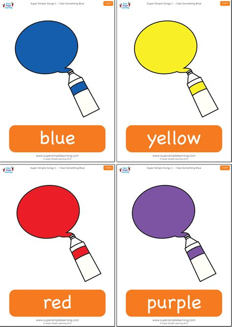 learning english is fun i see colours everywhere i see something blue flashcards super simple