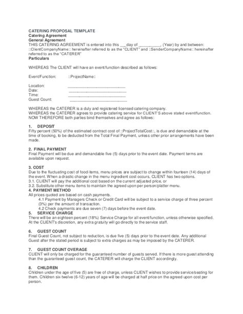 Catering Rfp Template Sle Catering Contract Catering Contract Template 38