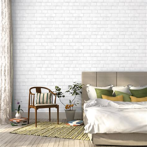 removable wall brick textured white removable wallpaper by tempaper