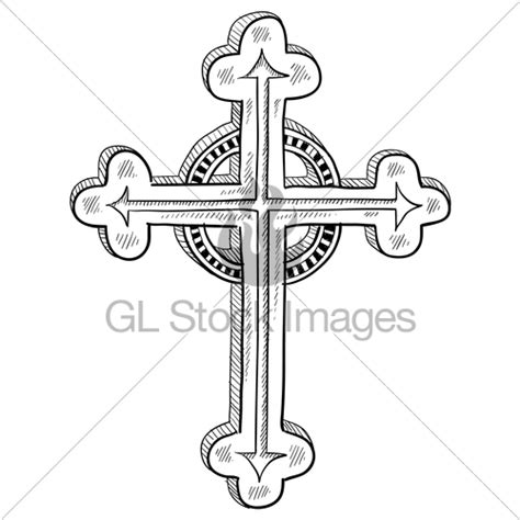 orthodox christian cross sketch 183 gl stock images