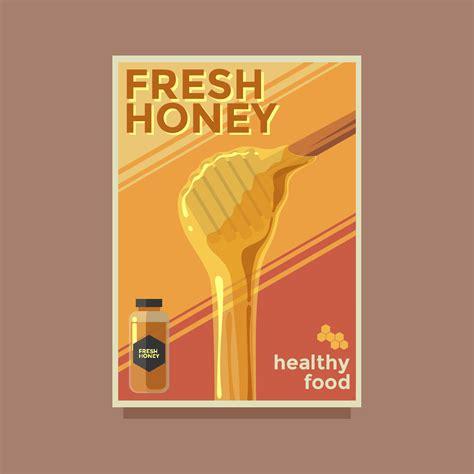 fresh honey retro poster vector template