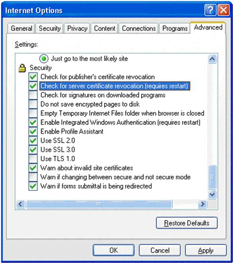 internet explorer certificate errors