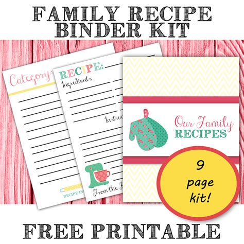 free recipe binder templates free printable family recipe binder cookbook kit