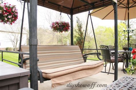diy patio swing how to add curtains to an outdoor covered patio swing