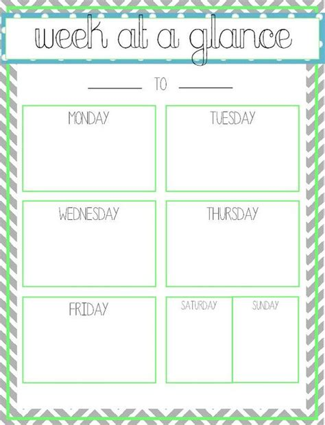 at a glance calendar template free printable week at a glance template calendar