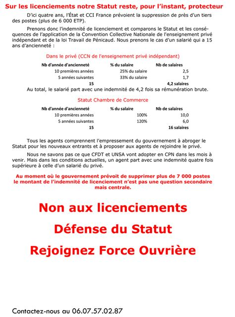 Statut Du Personnel Des Chambres De Commerce Et D Industrie fo cci syndicat national ouvri 232 re du personnel des