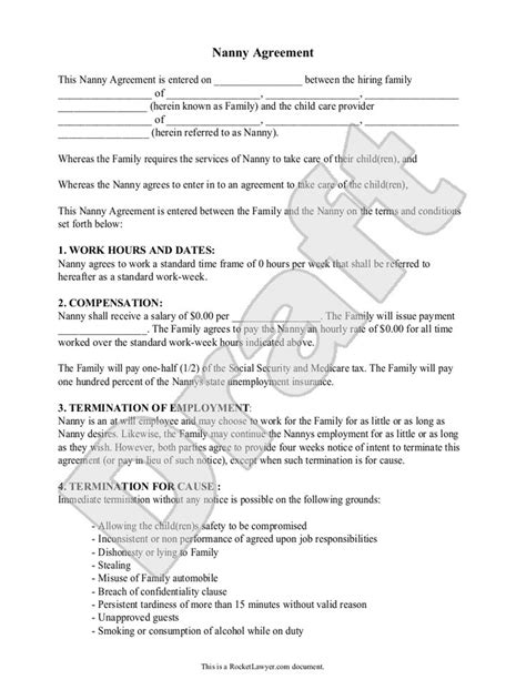 Nanny Agreement Letter 88 nanny contract template free 10 sle nanny