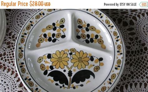 sectioned plates for adults on sale adult divided plates retro kitchen by revintagelannie