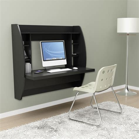 room computer desk black floating desk with storage