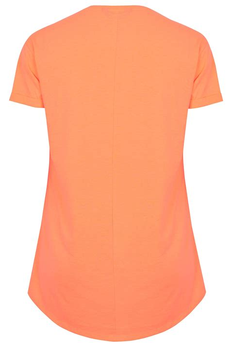 Neon Orange Pocket T Shirt With Curved Hem Plus Size 16 To 36 Clothing Terms And Conditions Template