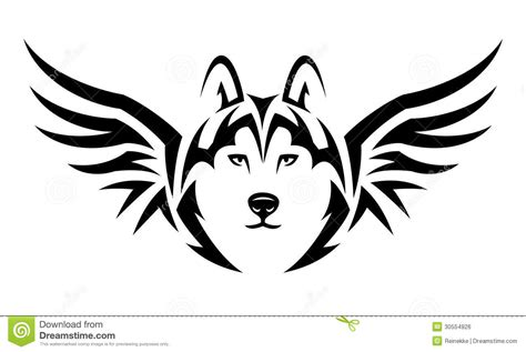 white wolf tattoo design flying wolf stock vector illustration of tribal