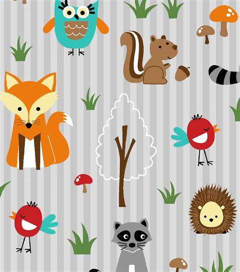 novelty cotton fabric woodland friends orange amp gray at