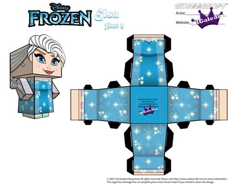 Disney Papercraft - elsa from disney s frozen cubeecraft template p2 by