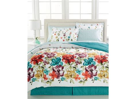 Turquoise King Bedding Sets Bright Floral Flowers Turquoise King Comforter Set 8pc Bed In A Bag New Ebay