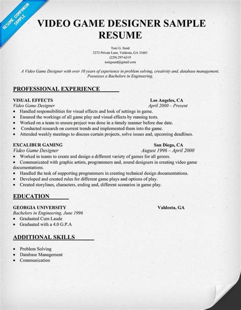 design job cv exles video game designer resume sle resumecompanion com