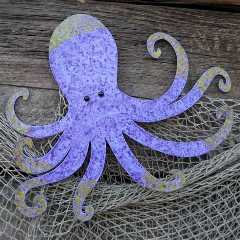 hand crafted handmade upcycled metal octopus wall art