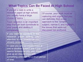 Research Paper Ideas For High School by High School Research Paper Topics