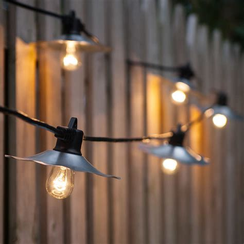 cafe string lights cafe string lights clear s14 bulbs silver shades yard envy