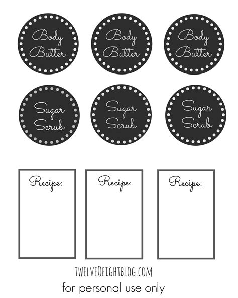 Gingerbread Cookie Body Scrub Recipe   Printable Labels   twelveOeight