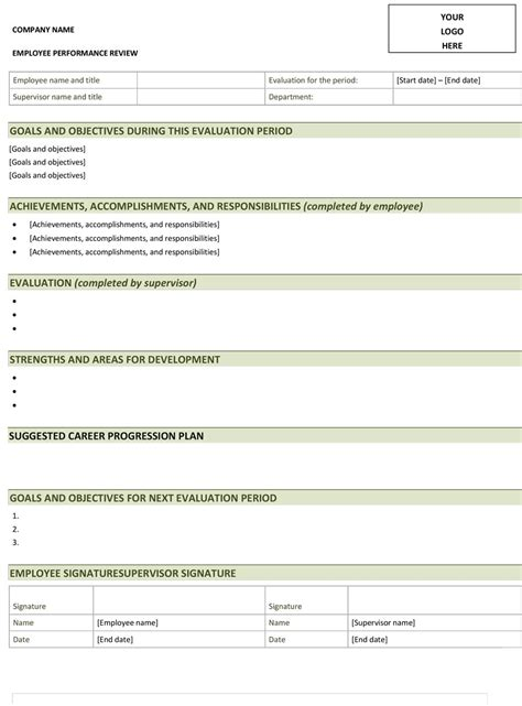 11 performance review template lease template